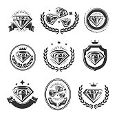 Collection diamond labels and elements set, edit size and color, vector