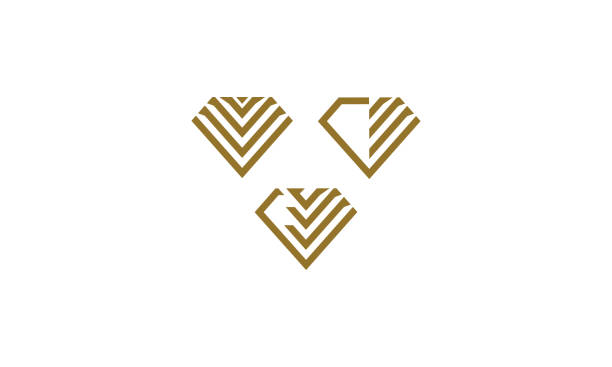 diamond line art logo icon vector technology - jewelry stock illustrations