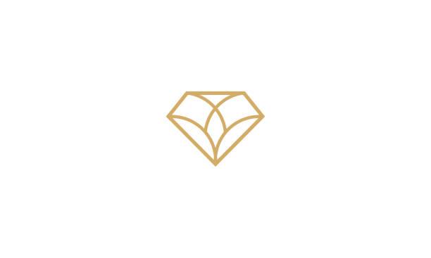 diamant-linie kunst logo vektor icon - schmuck stock-grafiken, -clipart, -cartoons und -symbole