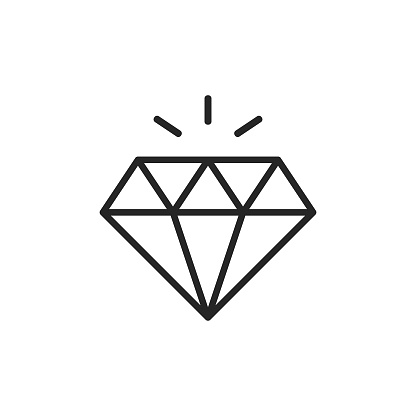 Diamond Line Icon. Editable Stroke. Pixel Perfect. For Mobile and Web.