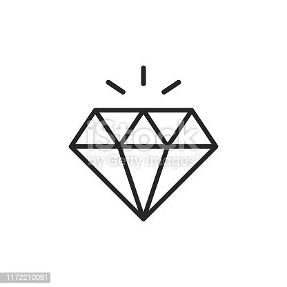 Diamond Outline Icon with Editable Stroke.