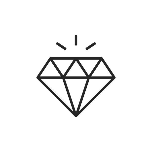 illustrazioni stock, clip art, cartoni animati e icone di tendenza di icona di diamond line. tratto modificabile. pixel perfetto. per dispositivi mobili e web. - brillante