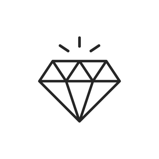 Diamond Line Icon. Editable Stroke. Pixel Perfect. For Mobile and Web. Diamond Outline Icon with Editable Stroke. diamond stock illustrations