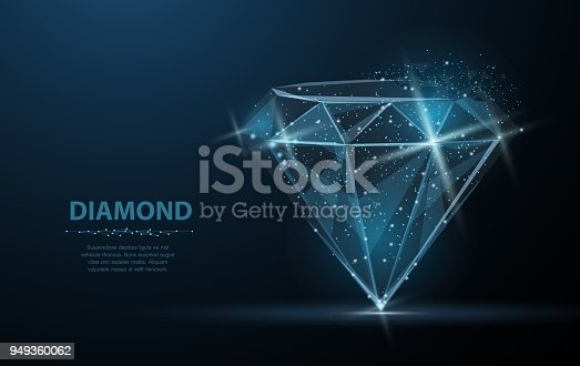 istock Diamond. Low poly wireframe mesh. Jewelry, gem, luxury and rich symbol, illustration or background 949360062