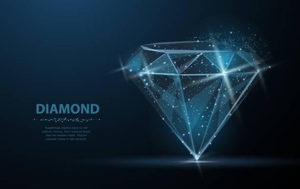 illustrazioni stock, clip art, cartoni animati e icone di tendenza di diamante. rete wireframe in poli basso. gioielli, gemme, lusso e ricco simbolo, illustrazione o sfondo - brillante