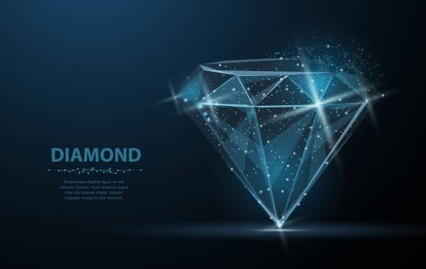 Diamond. Low poly wireframe mesh. Jewelry, gem, luxury and rich symbol, illustration or background Diamond. Low poly wireframe mesh with crumbled edge and looks like constellation on blue night sky with dots and stars. Jewelry, gem, luxury and rich symbol, illustration or background diamond stock illustrations
