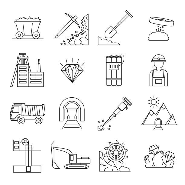 bildbanksillustrationer, clip art samt tecknat material och ikoner med diamant gruvdrift tecken svart tunn linje ikonuppsättning. vektor - mining