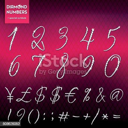 istock Diamond numbers and symbols set, Italic Lettering 505526052