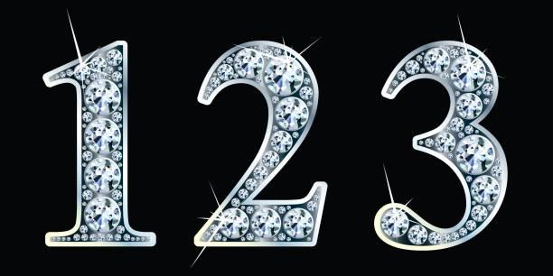 Diamant-Nummern stellen 1, 2, 3. Vektor Eps10 – Vektorgrafik