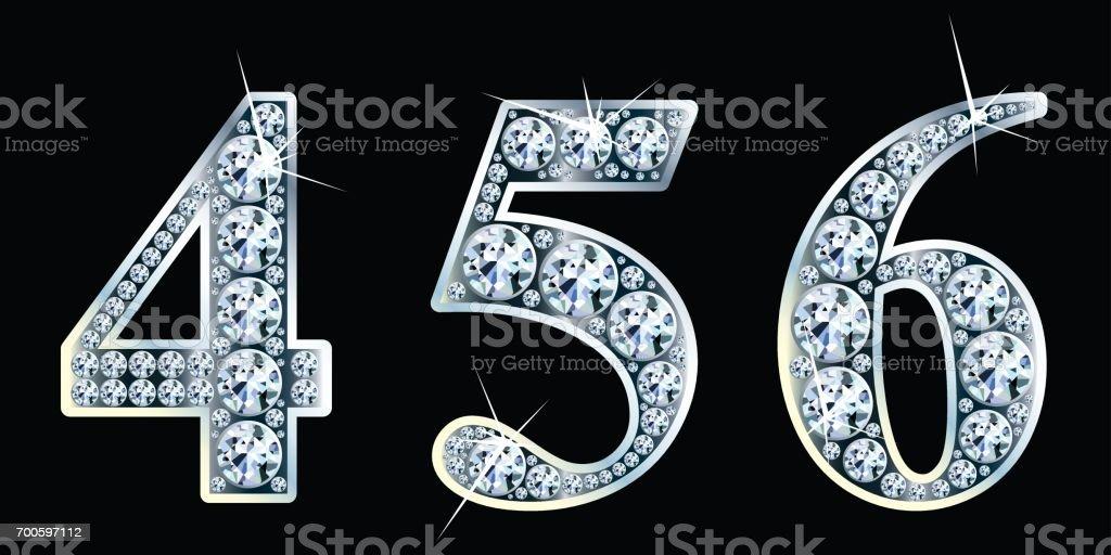 Diamond numbers set 4,5,6. Vector Eps10 vector art illustration