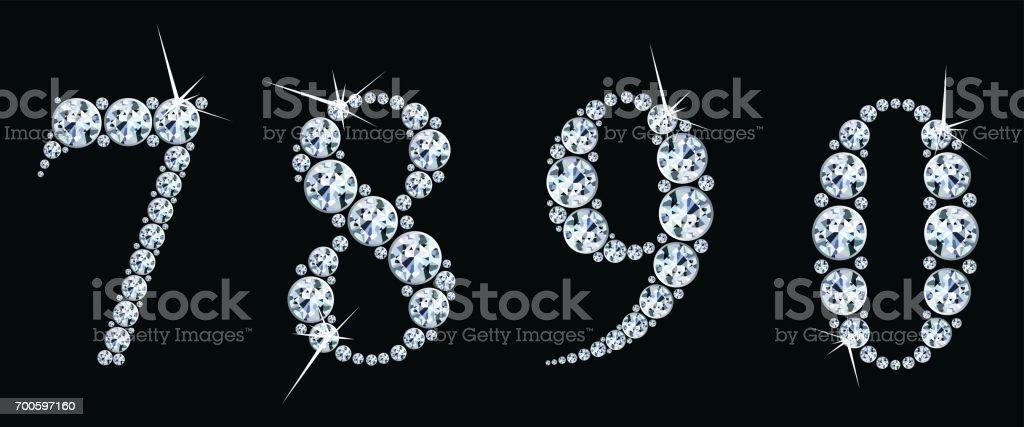 Diamant-Nummern setzen 7,8,9,0. Vektor Eps10 – Vektorgrafik