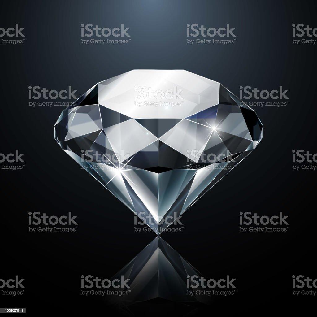 Diamond on black vector art illustration