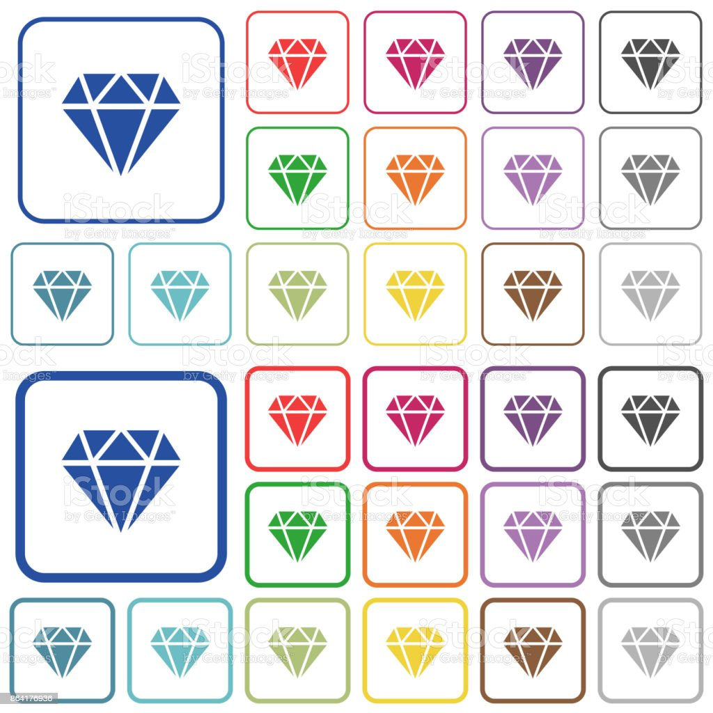 Diamond outlined flat color icons royalty-free diamond outlined flat color icons stock vector art & more images of applying