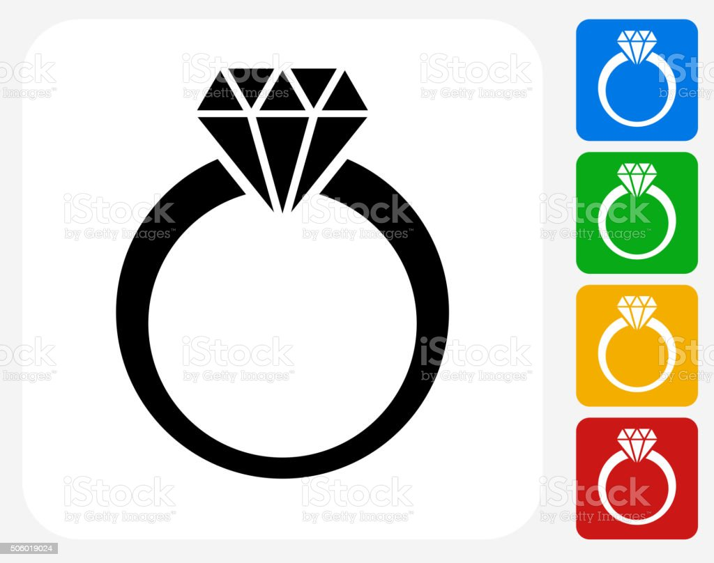 Diamond Ring Icon Flat Graphic Design vector art illustration