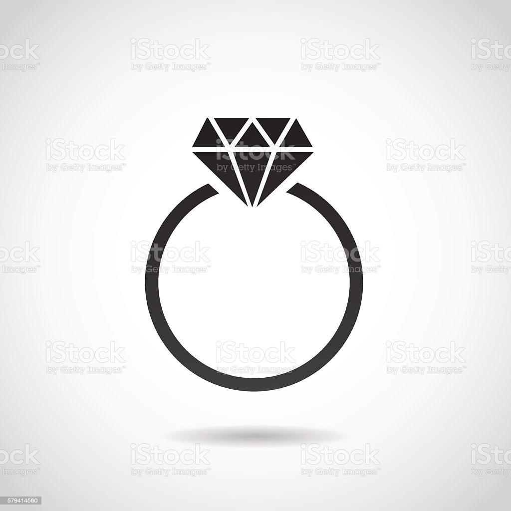 Diamond ring icon. vector art illustration