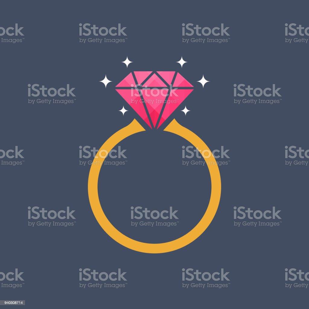 Icono de anillo de diamante - ilustración de arte vectorial