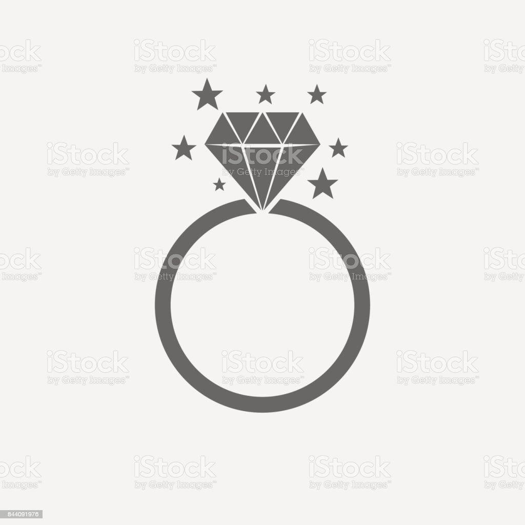 Anillo de diamantes icono Vector. - ilustración de arte vectorial