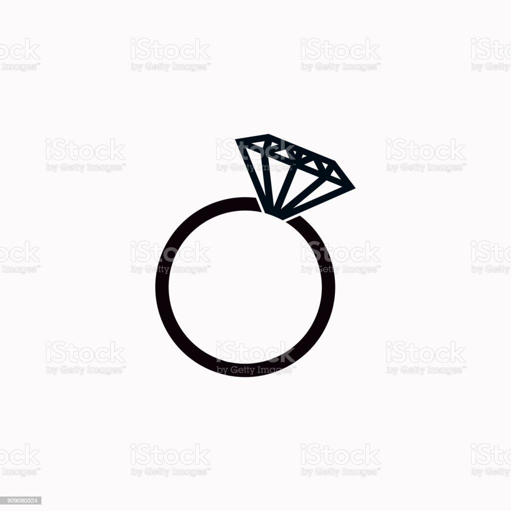 Anillo de diamante - icono de vectores. - ilustración de arte vectorial