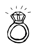 Diamond ring painted by hand. Black and white contour vector isolated illustration.