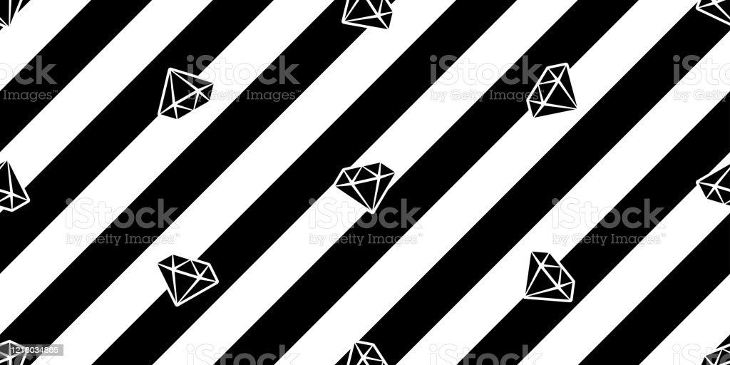 Diamond Seamless Pattern Gem Vector Jewelry Stripes Scarf Isolated Repeat Background Tile Wallpaper Cartoon Doodle Illustration Design Stock Illustration Download Image Now Istock