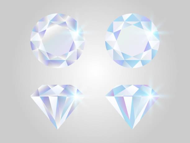 illustrazioni stock, clip art, cartoni animati e icone di tendenza di set di diamanti. gioielli realistici isolati su sfondo bianco. pietre scintillanti vista dall'alto. elementi di lusso. collezione di pietre preziose splendenti. concetto di gemme colorate. design a diamante lucido. illustrazione vettoriale - brillante