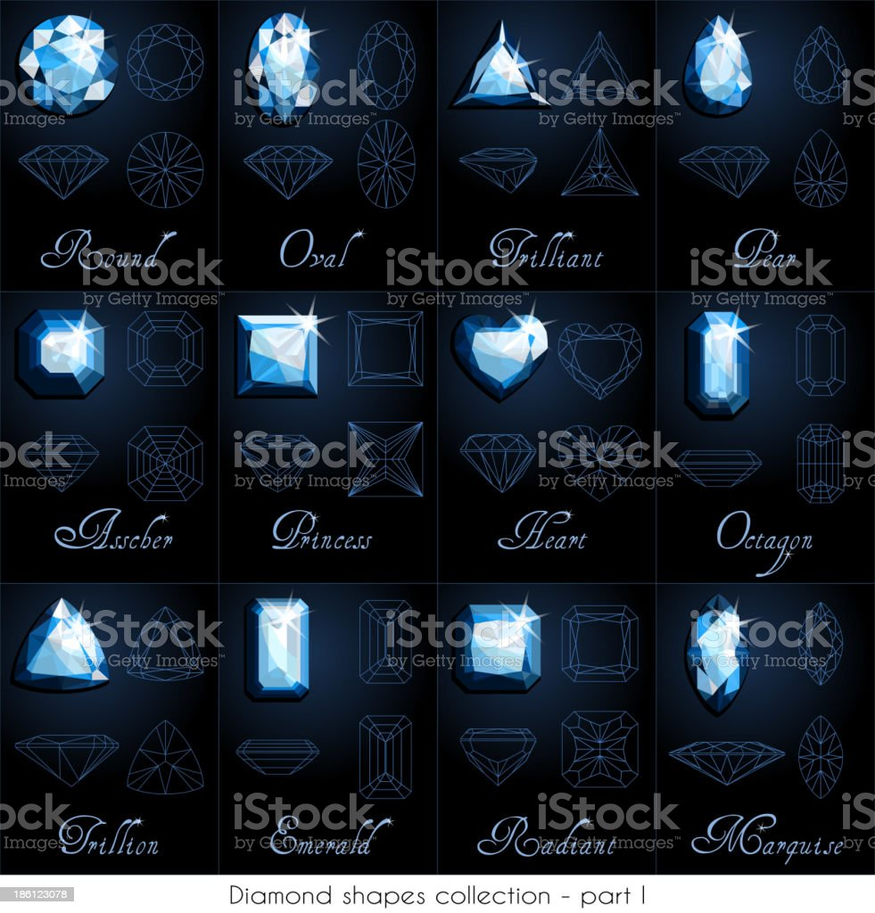 Diamond shapes collection - part 1 royalty-free stock vector art