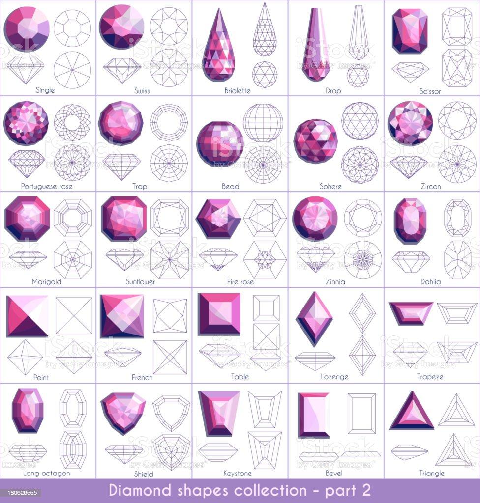 Diamond shapes collection - part 2 vector art illustration
