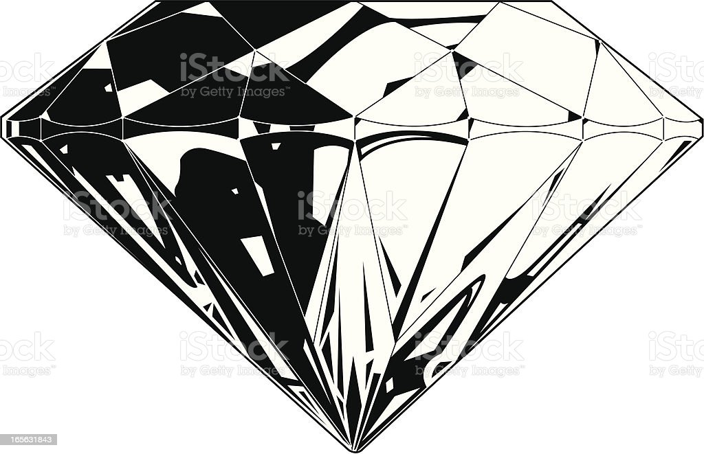 Line Drawing Diamond : Diamond side view bw stock vector art & more images of backgrounds