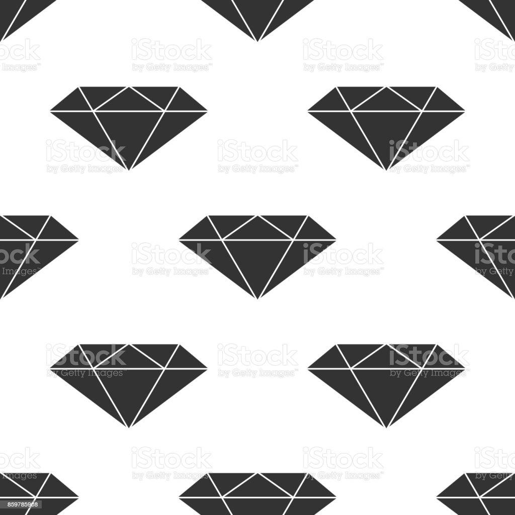 Diamante sign ícone sem costura padrão no fundo branco. Símbolo de joias. Pedra preciosa. Projeto liso. Ilustração vetorial - ilustração de arte em vetor