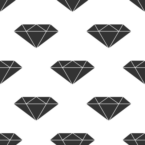 diamond sign icon seamless pattern on white background. jewelry symbol. gem stone. flat design. vector illustration - treasure map backgrounds stock illustrations, clip art, cartoons, & icons