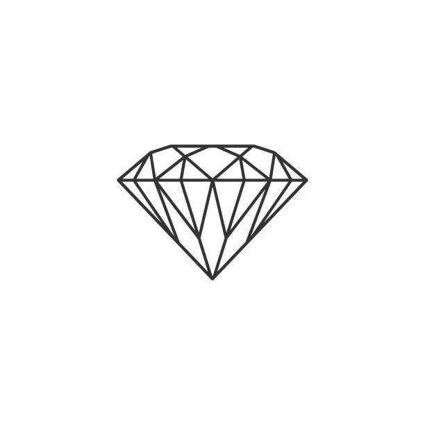 illustrazioni stock, clip art, cartoni animati e icone di tendenza di segno di diamante isolato. simbolo di gioielli. pietra preziosa. design piatto. illustrazione vettoriale - brillante