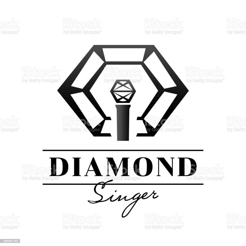 diamond singer badge design with microphone vector art illustration