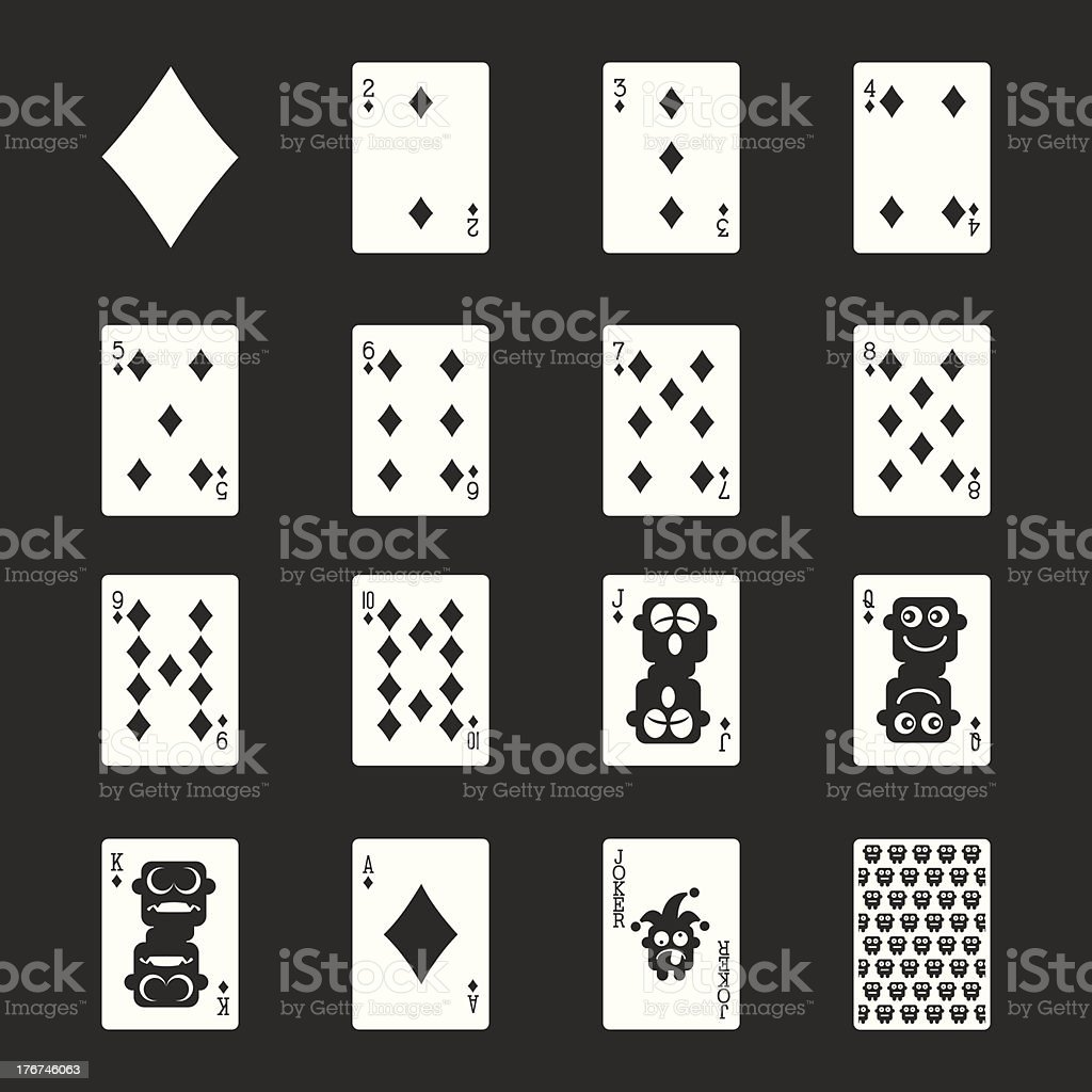 Diamond Suit Playing Card Icons - White Series | EPS10 royalty-free stock vector art