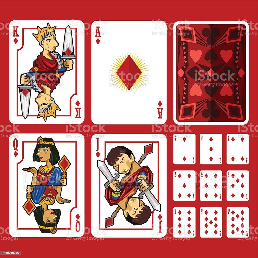Diamond Suit Playing Cards Full Set vector art illustration