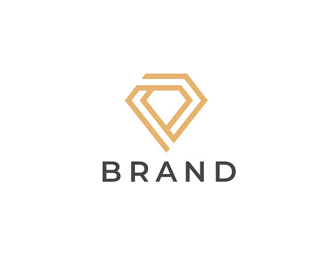 Diamond symbol. Geometric jewelry icon. Vector design template.