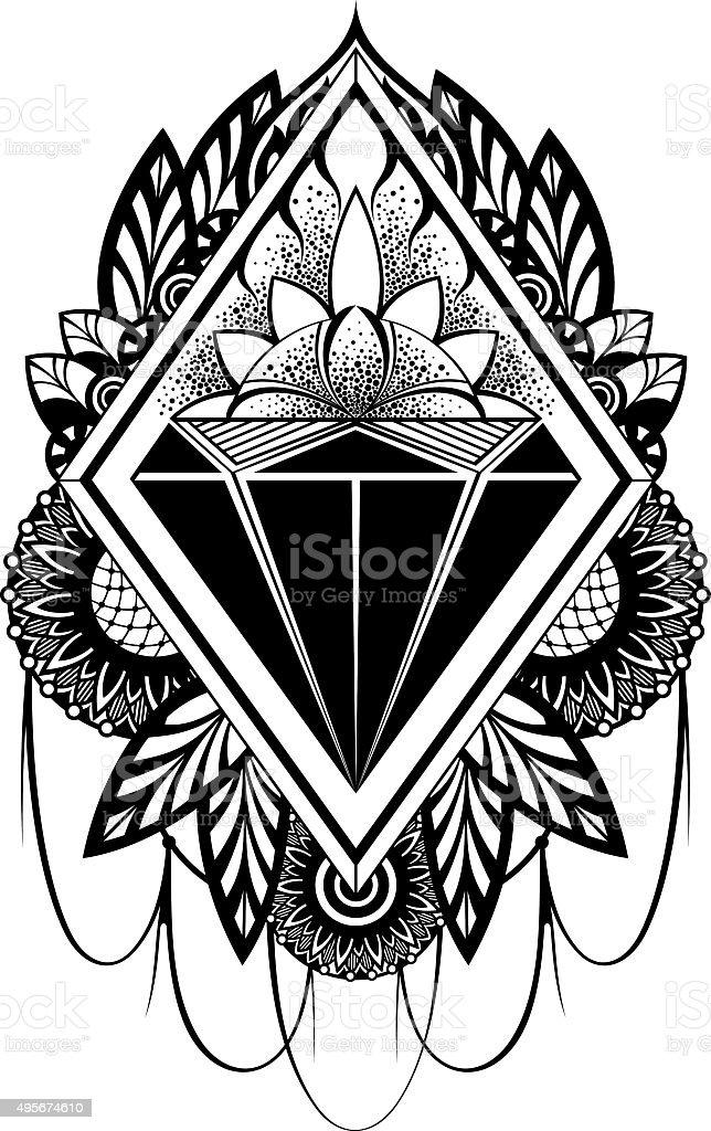 Diamond tattoo vector art illustration