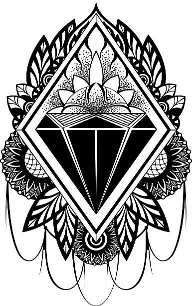 Diamond tatuaje - ilustración de arte vectorial