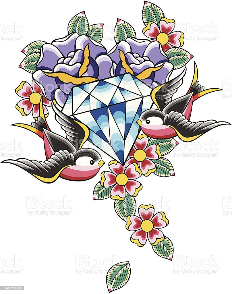 diamond tattoo with flower and bird vector art illustration