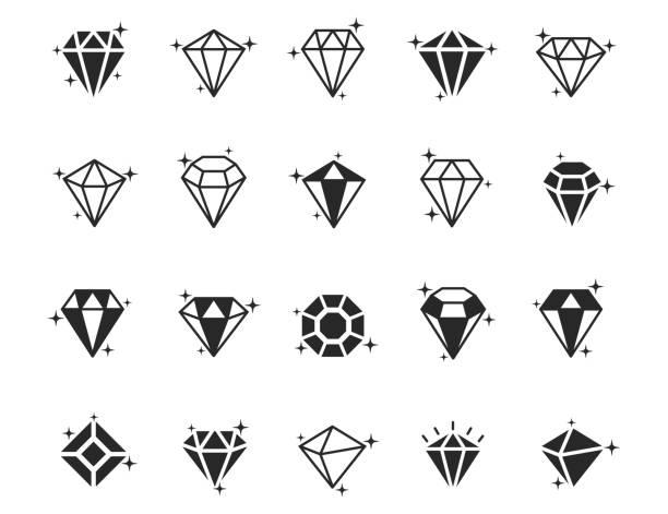 illustrazioni stock, clip art, cartoni animati e icone di tendenza di set di icone vettoriali diamante - brillante