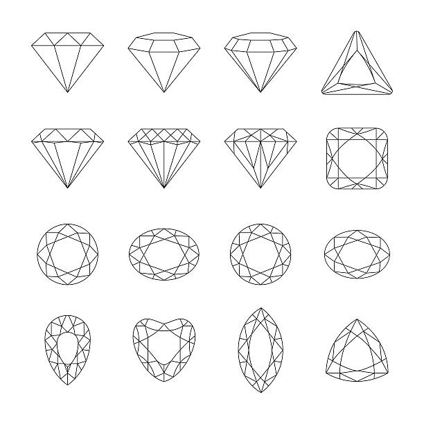 diamond vector icons set. - gemstone stock illustrations, clip art, cartoons, & icons