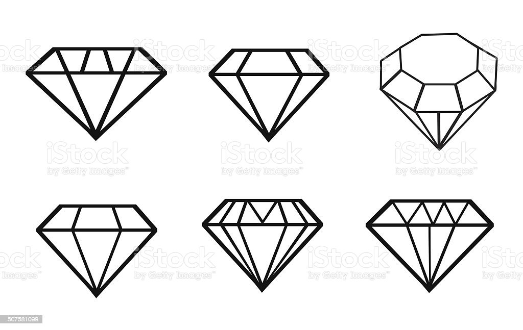 Line Drawing Diamond : Diamond vector icons stock art more images of