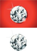 vector illustration of two crystals diamonds on red background and isolated on white background