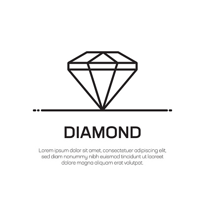 Diamond Vector Line Icon - Simple Thin Line Icon, Premium Quality Design Element