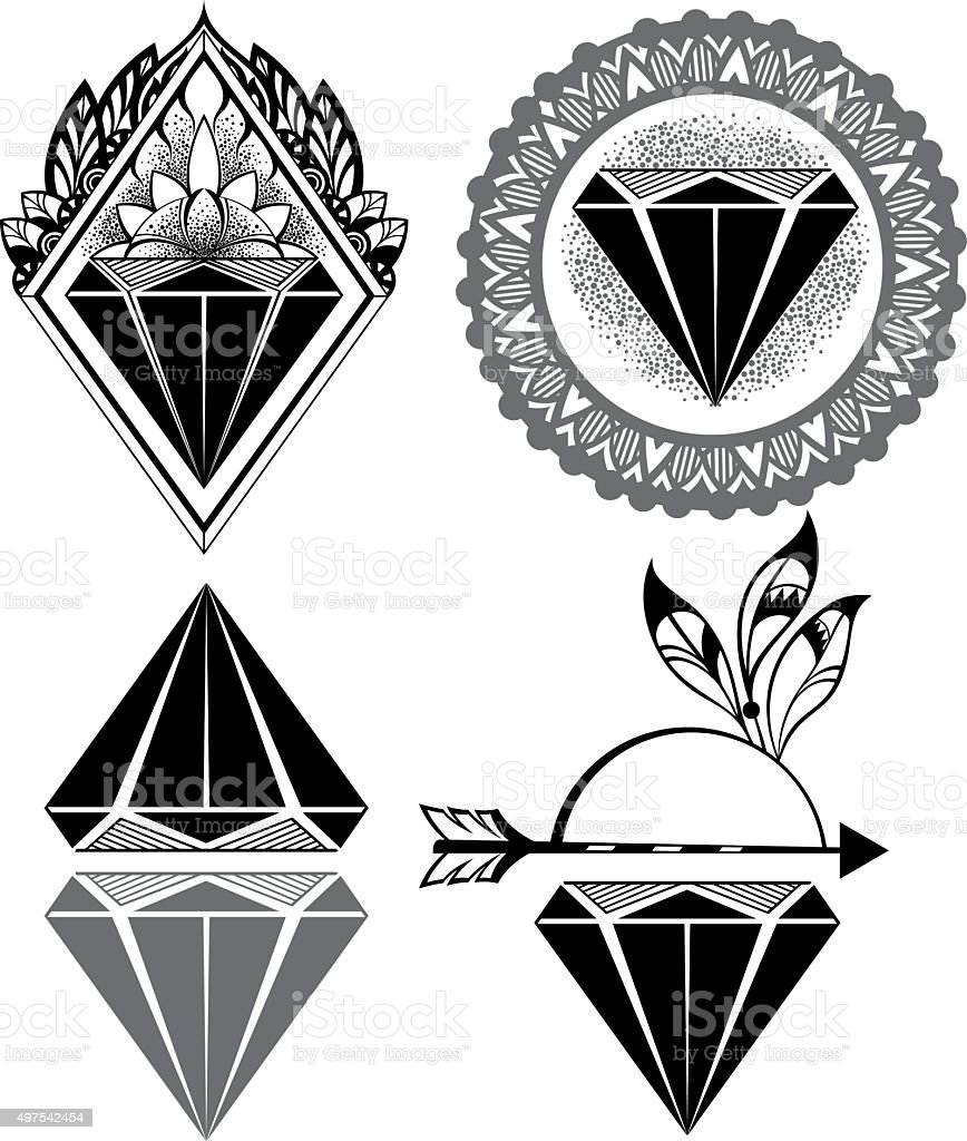 Diamond Vintage Hipster Labels of diamonds vector art illustration
