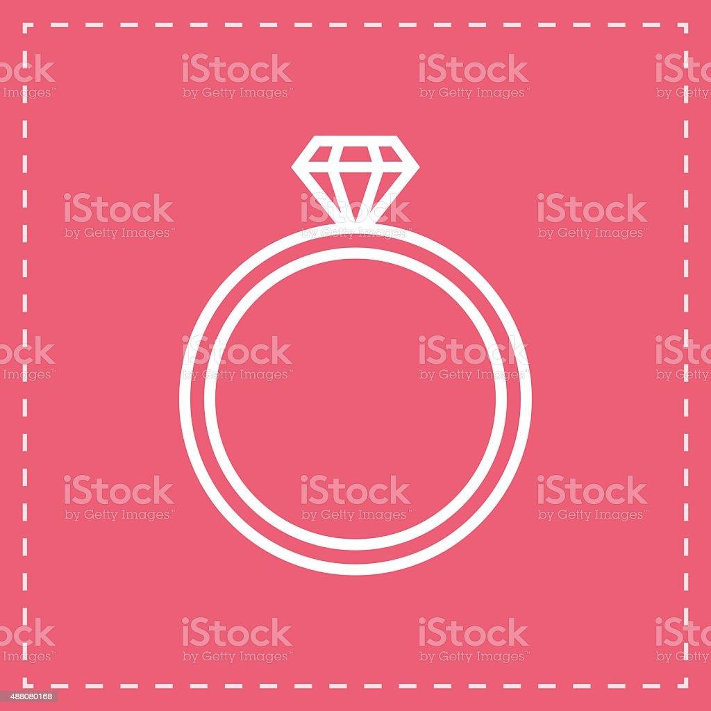 Diamond Wedding Ring Outline Icon Modern Minimal Flat Design Style ...