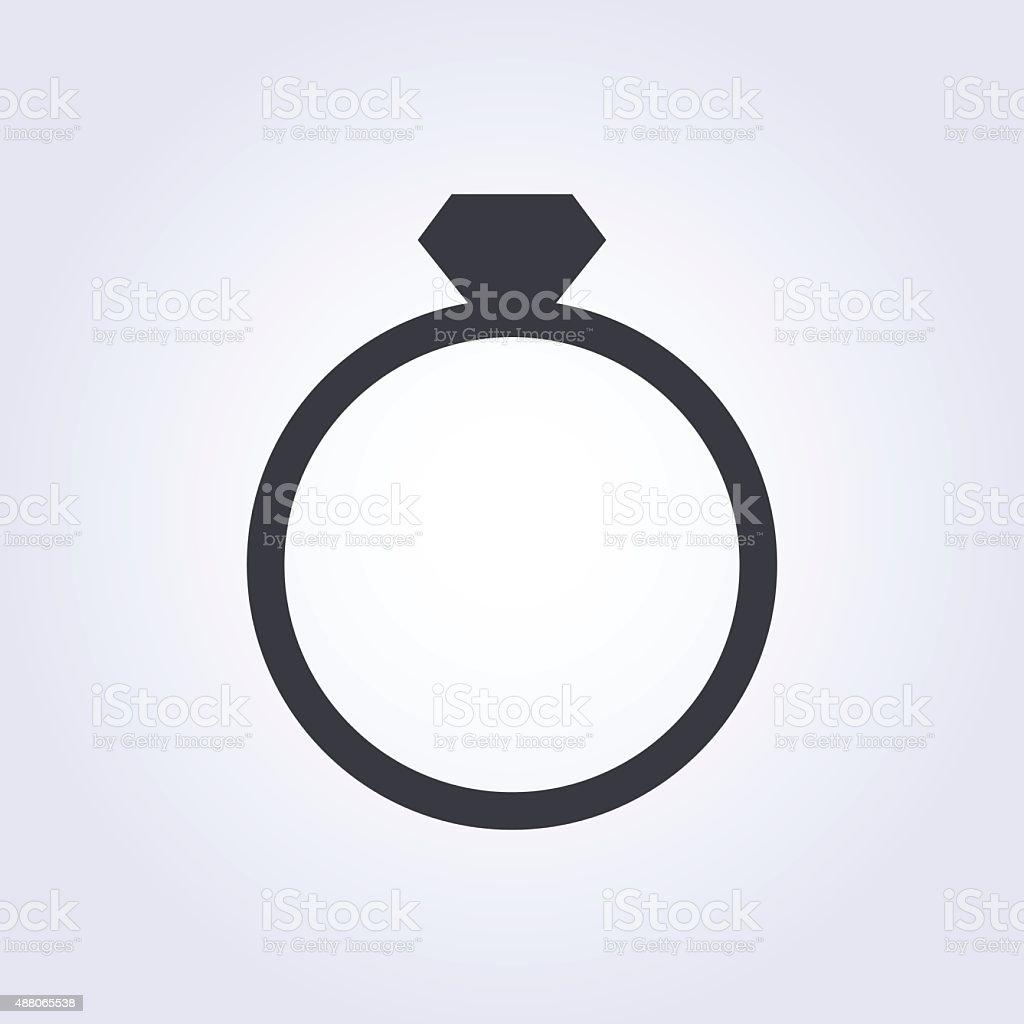 Diamond Wedding Ring Vector Icon Modern Minimal Flat Design Style