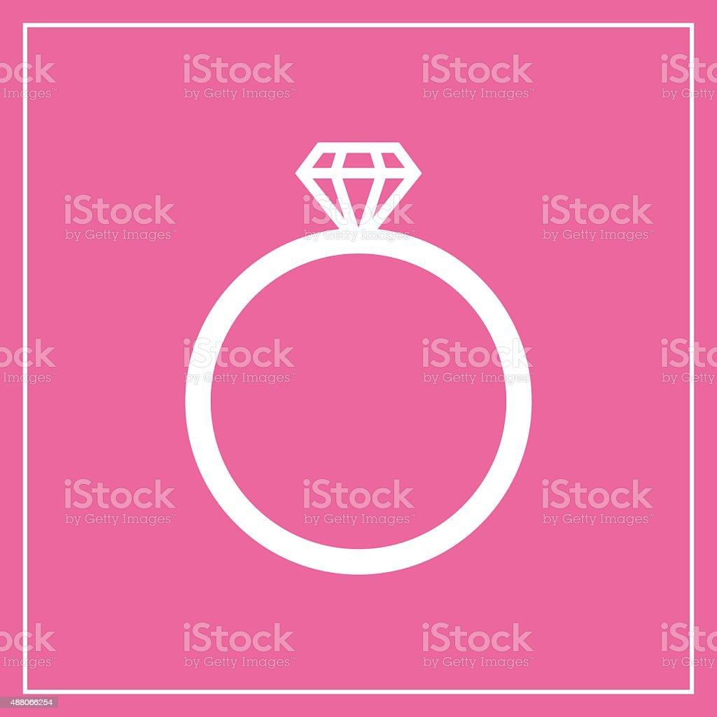 Diamond Wedding Ring Vector Icon Modern Minimal Flat Design Style ...