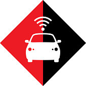Vector illustration of a red and black diamond shape with a white car and wireless symbol on it.