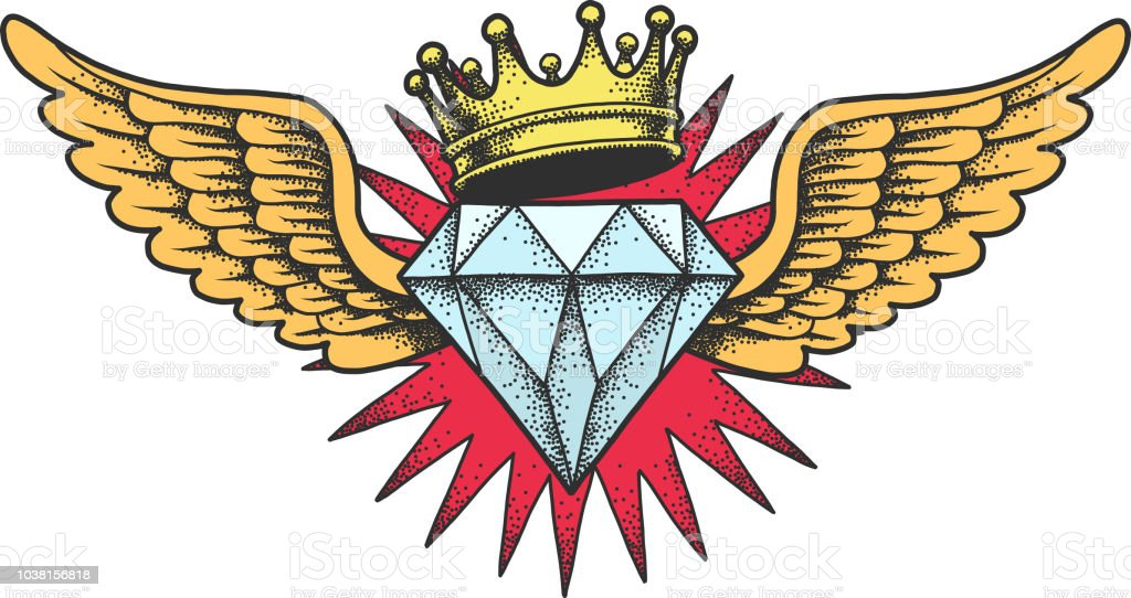 Diamond with wings and crown. vector art illustration