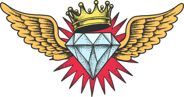 diamond with wings and crown. - diamond tattoos stock illustrations, clip art, cartoons, & icons